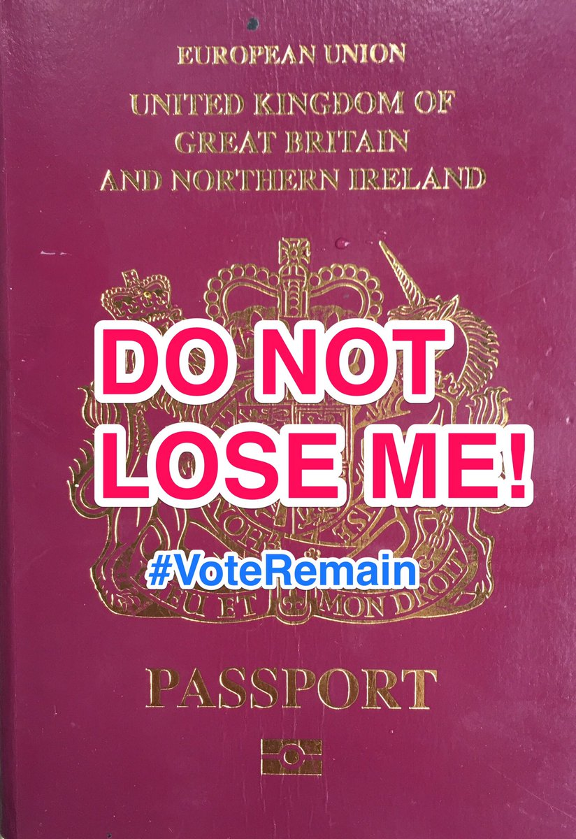 This is the best passport on the planet. If we lose it - we will never get it back! #VoteRemain #EUref #Brexit https://t.co/4Y5PbzEcAS