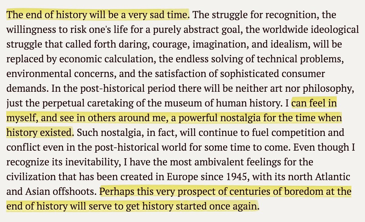 "The final paragraphs of @FukuyamaFrancis' ""End of History"" make for a fascinating, prescient read 27 years later https://t.co/OeVVAG1RIq"