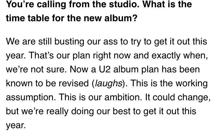 Edge on new album in Billboard - full article in link - https://t.co/wB6fo0lL9C https://t.co/ZZw790GEF7