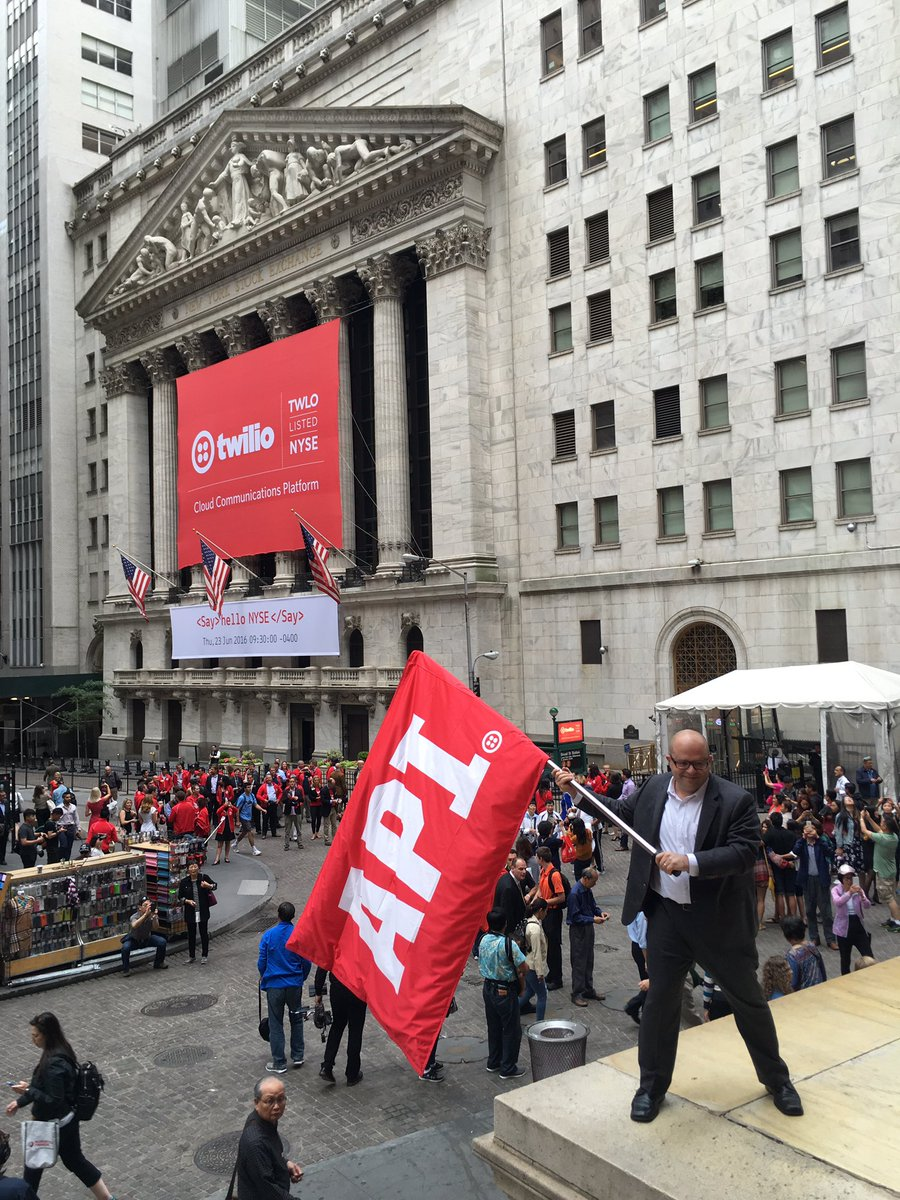 Viva la revolution! @jeffiel flying the flag for @twilio and developers on IPO morning. https://t.co/EkPPBQKlyl