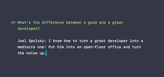 What's the difference between a good and a great developer? See @spolsky's fireside chat: https://t.co/Qj7Lu6iFUR https://t.co/S87dzTYQV7