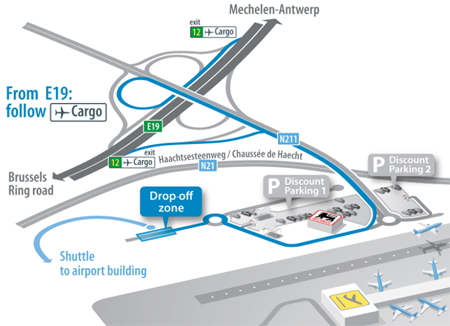 As of 25 June you can make use of the drop-off area at Brucargo. Handy when coming from E19.