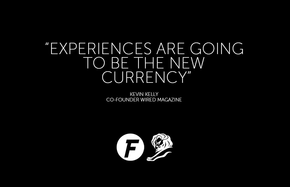 .@Wired Co-founder & Kevin Kelly delivering insights on how experiences will be the new currency #VR #CannesLions https://t.co/MA4bdyKS8H