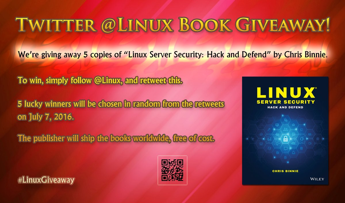 Follow and RT to enter book giveaway! 5 copies of Linux Server Security: Hack and Defend! https://t.co/57NUxOQTyW