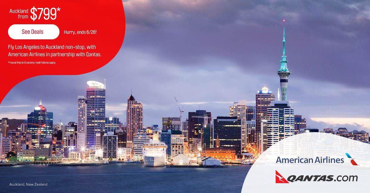 Fly LAX to AKL from $799* RT economy with AA in partnership with Qantas *restrictions apply
