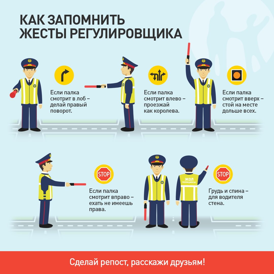 Схема жестов регулировщика для детей