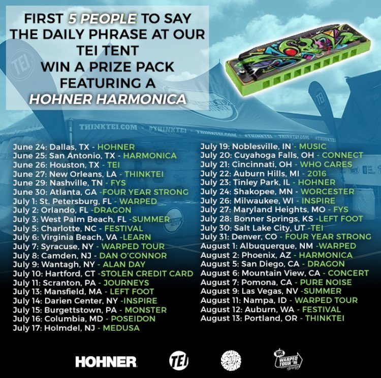 First 5 people to say the daily phrase @ the @thinktei tent will WIN a prize pack featuring a @PlayHohner harmonica! https://t.co/FIJo1WcYrq