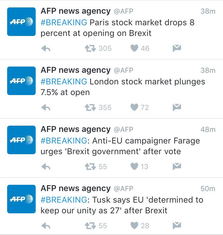 Quite a morning to wake up to the news of Brexit. The @AFP captures this in fact-filled, perfunctory sentences. https://t.co/fqnzmU7F1a