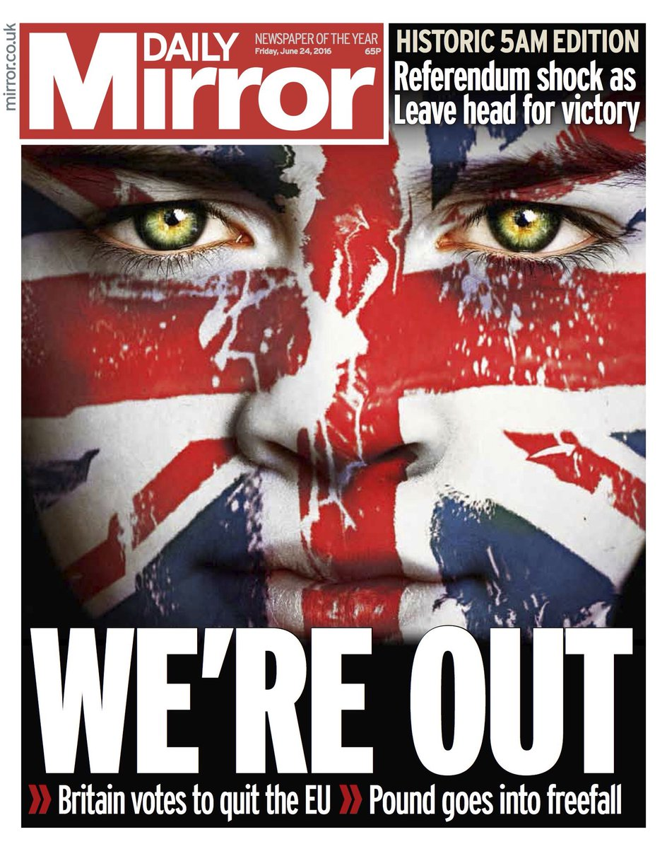The most striking #brexit front page yet: @DailyMirror (h/t @suttonnick) https://t.co/k1JRdomPt0