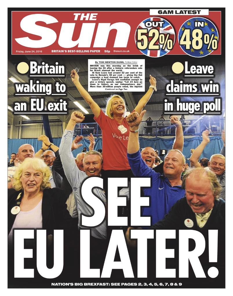 This morning's front page: See EU later! https://t.co/ntv8ofV3Kv
