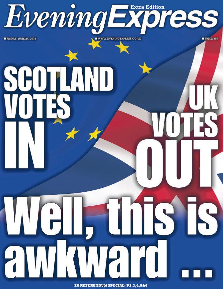 Today's @EveningExpress early #EUreferendum special #frontpages @Scotpapers https://t.co/jVgA0v1h7n