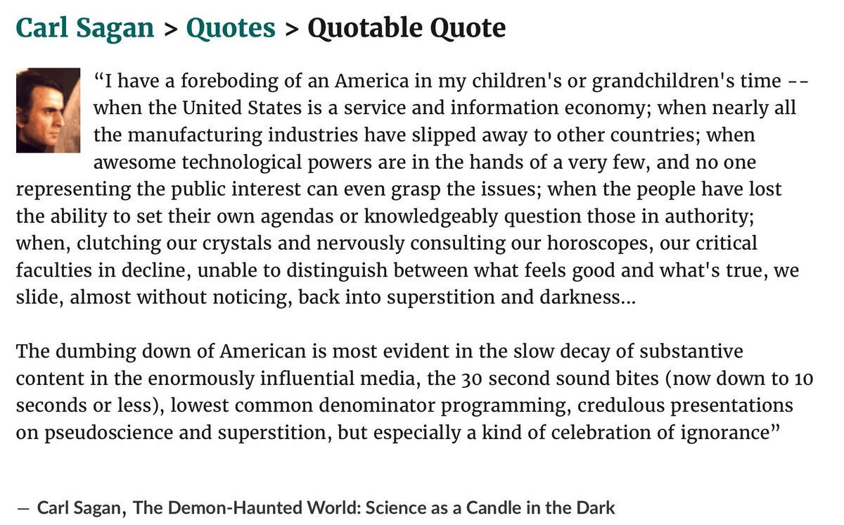 """""""we slide, almost without noticing, back into superstition and darkness..."""" - C.Sagan https://t.co/623xj6mpAH"""