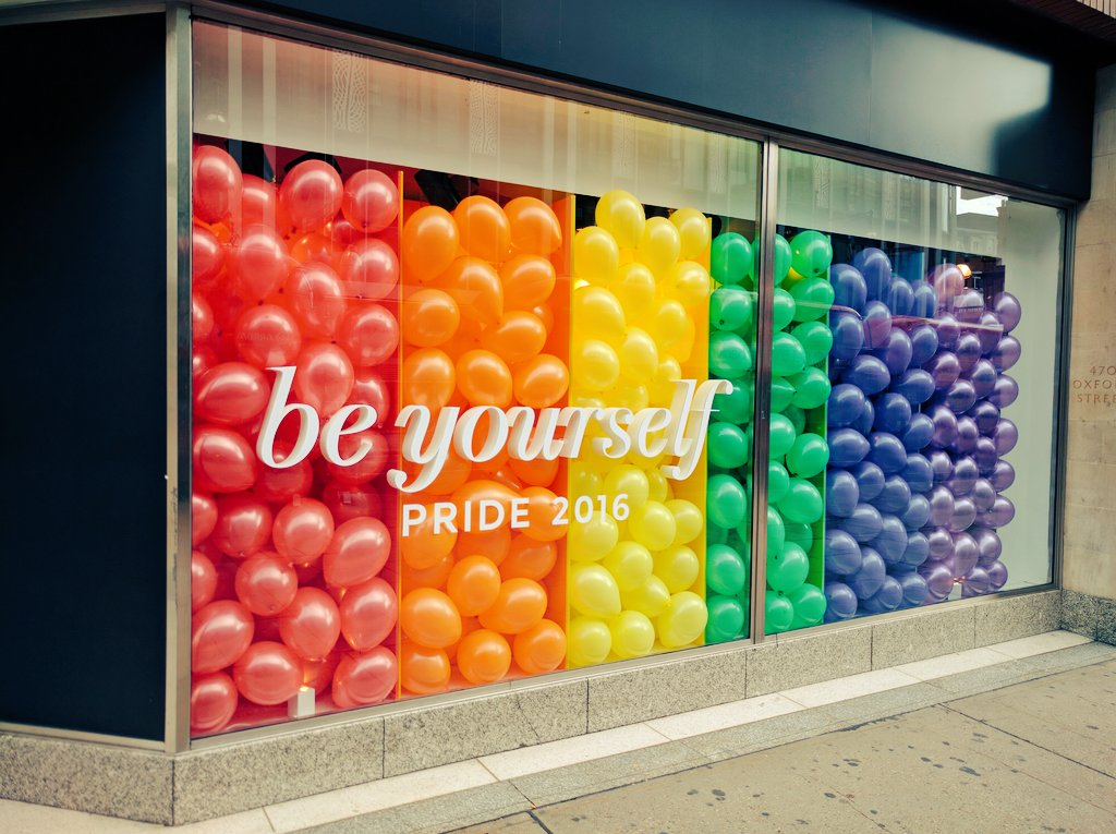 Let this cheer up your day. @marksandspencer Oxford St @LondonLGBTPride #nofilter #beyourself #pride  ❤