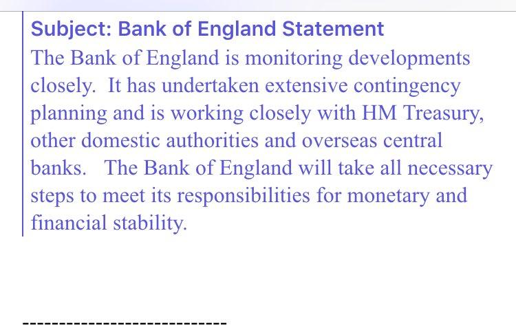 Bank of England statement: #EUref https://t.co/kk6BvRtIdP