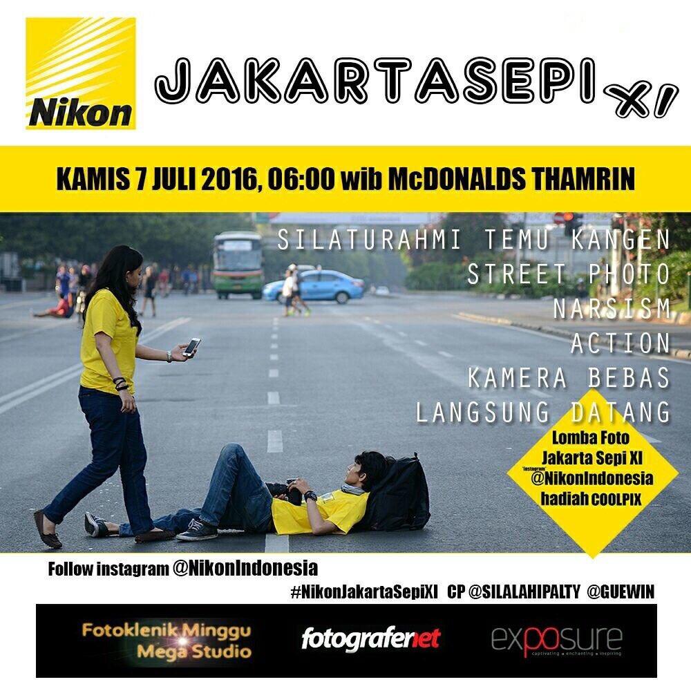 Jakarta Sepi XI #JakartaSepiXI 7 Juli 2016 - kumpul McD Sarinah #JakartaSepi #FN13 @guewin @silalahipalty https://t.co/VJJ1J16PWK