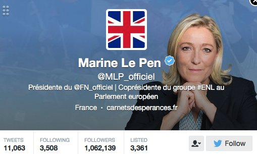 Marine Le Pen has changed her twitter picture to a Union Jack https://t.co/Ky4q5p5Fj2