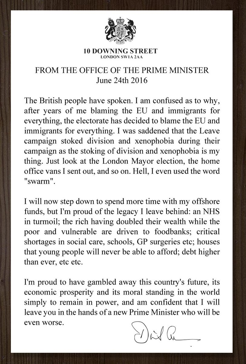 David Cameron's resignation statement in full. https://t.co/5TAV7Q0Eik