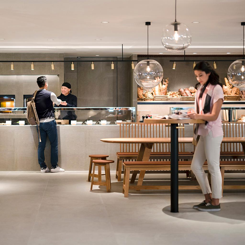 Grab a pre-flight snack at our Food Hall, a new highlight of our Pier Lounge in HongKong.
