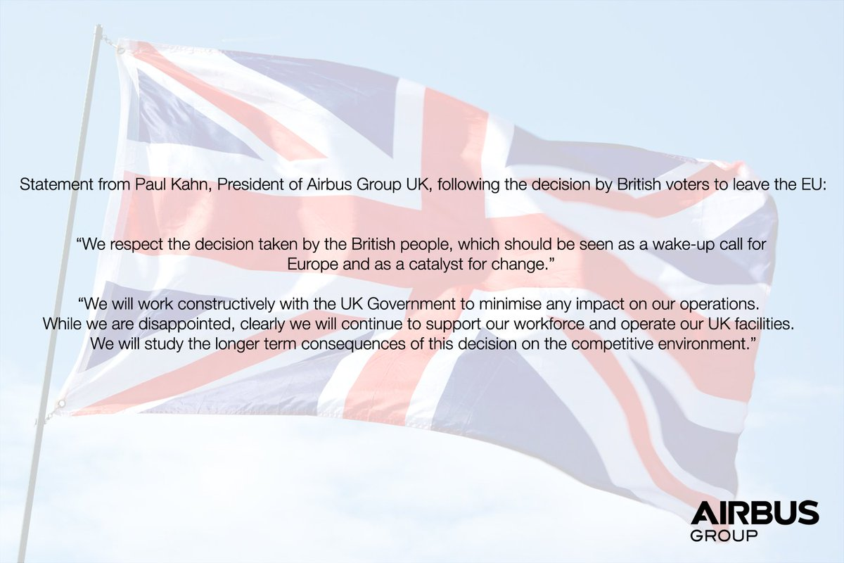 Statement from Paul Kahn, President of @AirbusGroup UK, following the decision by British voters to leave the EU https://t.co/ixoSdcv2Ih