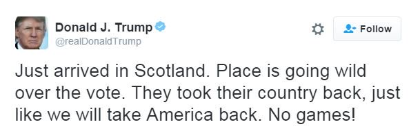"In case you missed, Donald Trump thinks Scotland is ""going wild"" over the referendum vote. https://t.co/RxiSTdVZnM"