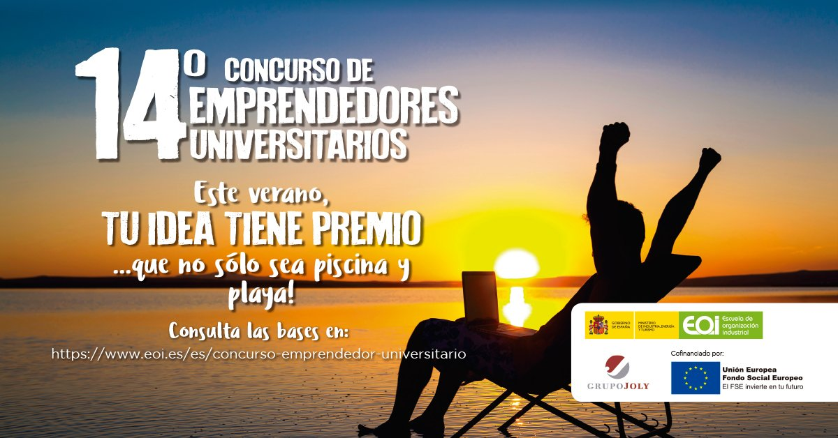 14º Concurso de emprendedores universitarios.¡Una buena idea tiene premio! https://t.co/JkBoAs76Up #emprendedores https://t.co/cxkV8FFVV5