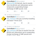 """Commonwealth Bank """"suspending exchange of GBP pound until further notice"""" due to #brexit and people are PISSED https://t.co/PIuYaO3dnn"""