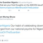 Guardian: What are your final thoughts on the AMCON issue? Ben Bruce: Our habit of...???????????? #BenBruceOnTheGuardian https://t.co/2IPsR3j3XN