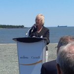 Lois Vincent, president of SJ Industrial Parks gives remarks on the completion of the Lorneville Barge Terminal. https://t.co/L9zfPO0Jno