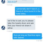 Some kid found Tampa Bay Lightning draft strategy book in the lobby of buffalo and they DMd him 😂😂😂 his response!! https://t.co/HvMJdMtQxl