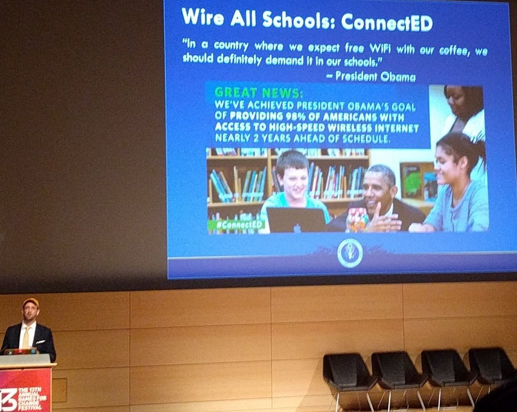 When schools have less bandwidth than Starbucks, we have a problem. @SethAndrew  #G4C16 https://t.co/BpIapan4zP