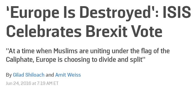 ISIS, Trump, Kremlin & neo-Nazis all celebrating #Brexit. What an inglorious day this is for British democracy. https://t.co/1X9DBhtbax