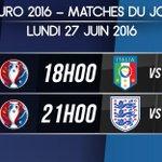 Les deux derniers huitièmes de finale d#EURO2016 au programme de ce lundi : 18h : #ITA - #ESP 21h : #ENG - #ISL https://t.co/ju6FIm67l8