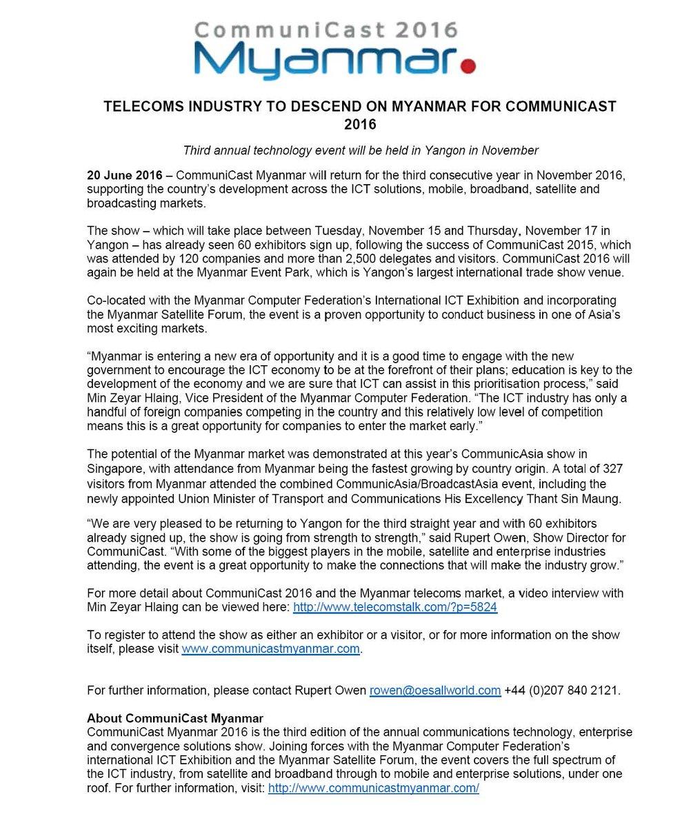 test Twitter Media - #TelecomsIndustry to descend on Myanmar for #CommuniCastMyanmar  2016. Press Release: https://t.co/oMRU5CohPE https://t.co/sHUsCjFTuQ