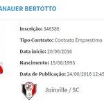 Emprestado pelo Internacional até 30/11/2016, Bertotto foi registrado no BID pelo Joinville: https://t.co/lzYzTuVRPc