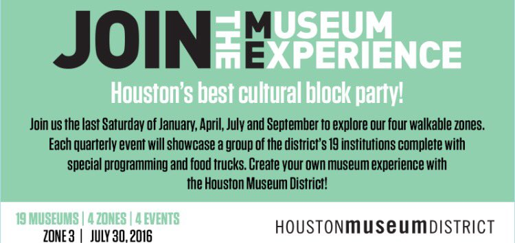The next Museum Experience Day is coming on July 30 w/free general admission to @CAMHouston, @JungHouston & @MFAH! https://t.co/YDouuf6wCJ