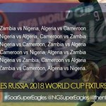 .@NGSuperEagles Journey to @FIFAWorldCup 2018 begins with an away game vs Zambia @FAZFootball #AFWCQ #SuperEagles https://t.co/1x0ExXBWRs