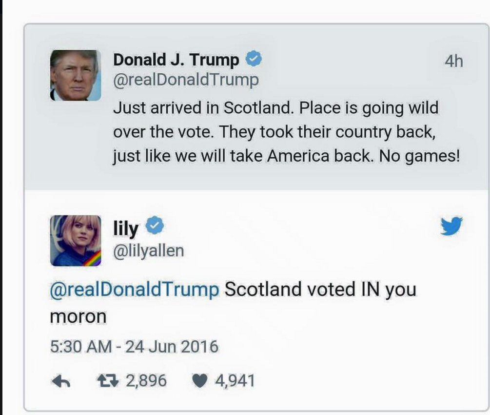 Uh Oh. A little factoid slipped by the Donald. @lilyallen set him straight. https://t.co/1abahHNUL6