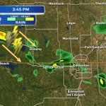 a few light & scattered showers in #yeg at 3:45pm. Storms NW of Onoway may roll in later this afternoon. #yegwx https://t.co/80mKVdIiBz