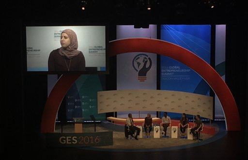 The brilliant Egyptian entrepreneur @MaiMedhat of @EventtusTweets on stage with @POTUS & Mark Zuckerberg #GES2016 https://t.co/DJI1BYTo1P