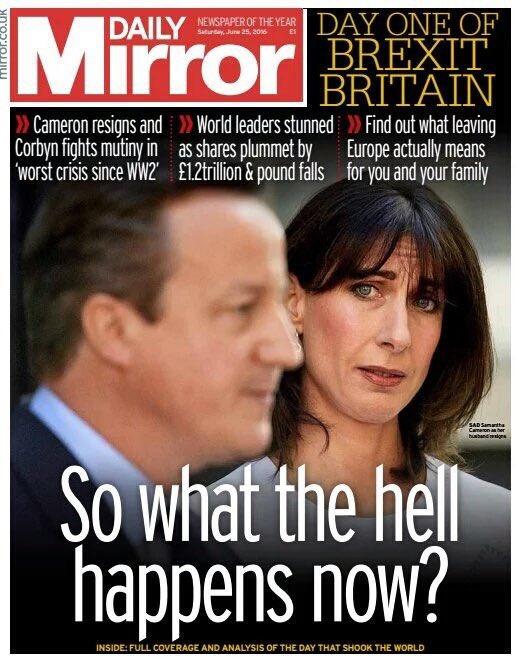 Excelente portada y lo dice muy claro: Que demonios va a pasar ahora? #Brexit esos ojos lo dicen todo