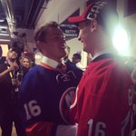 Gauthier and Bellows catching up and congratulating each other. #CanesDraft https://t.co/KyWZ1CPDvg