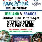 FREE family friendly event! Stephen St. car park 2pm @sligococo @bennytierney #Sligo #SligoFanZone #IREvFRA #COYBIG https://t.co/8uegKV5vQV