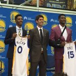 The Warriors draft picks (Damian Jones and Patrick McCaw) officially have NBA jerseys. https://t.co/wzaQCSAuRF