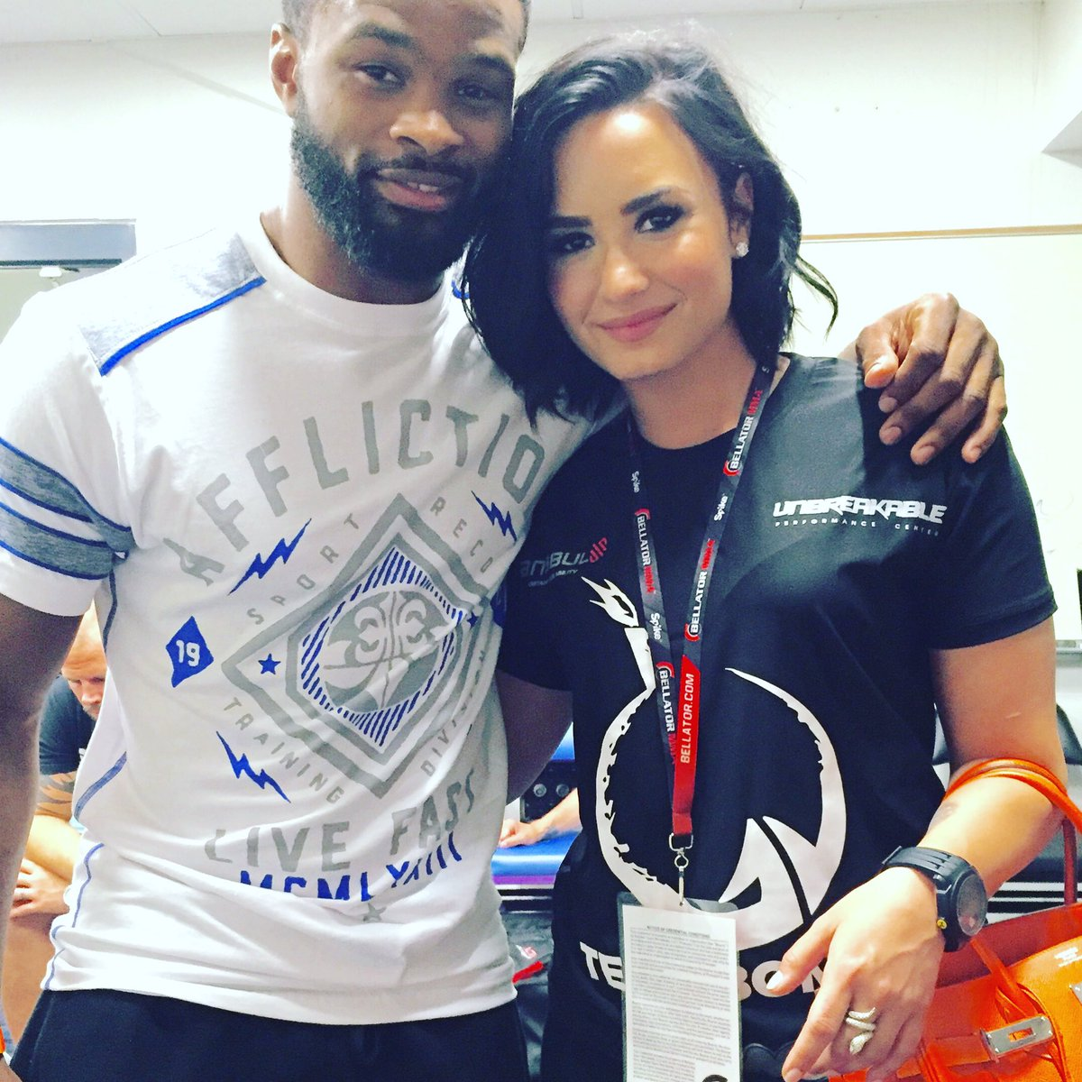 Great seeing @ddlovato at the fights. She looks like a fighter when I see her train at @Unbreakable
