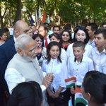 PM Shri @narendramodi interacting with the kids at Shastri Street, in Tashkent https://t.co/AjWL2Bk5tD
