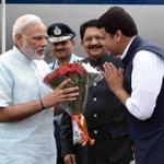 PM Shri @narendramodi being welcomed by Governor of Maharashtra, Sh C. Vidyasagar Rao & CM Sh @Dev_Fadnavis in Pune https://t.co/yE9PnIIRRk