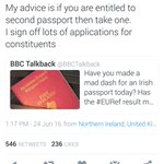 Ian Paisley Jnr advising his constituents to get an Irish passport??? Didnt think Id see the day. https://t.co/mNnahqbk3D