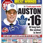 Todays Sun front page: Welcome to #Toronto, @A_Matthews34 https://t.co/eGVnhCvJaq #Leafs #NHLDraft https://t.co/lofNsJPgUO