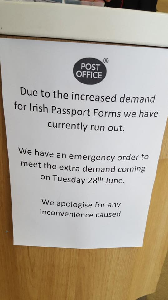 A Belfast post office. #Brexit #PassportPanic https://t.co/7GeK5DKLV0