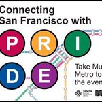 For a look at #SFPride street & svc impacts, check out our Transit & Traffic Advisory. https://t.co/2yO7RDWo3S https://t.co/e1nrgSUrb0